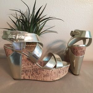 NEW G by Guess Gold Wedge Heels Sandals